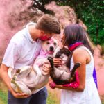 Gender Reveal Pink Smoke Bombs with Dogs
