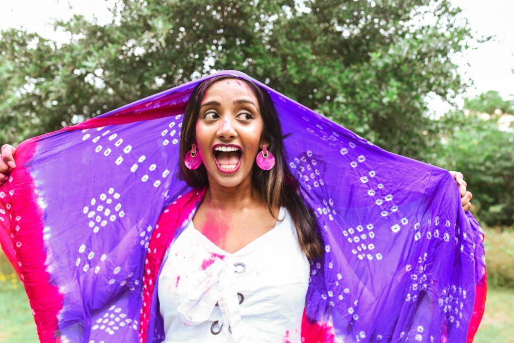 Kendra Scott Earrings Indian Woman Pink Holi Gender Reveal